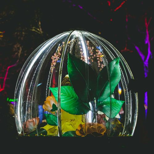 The Enchanted Flower Globe is an illuminated interactive attraction