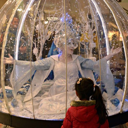 The Living Snow Globe act at Harlow Shopping Centre
