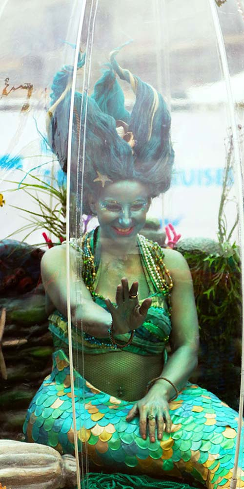 Sea Sphere mermaid entertainment waving hello