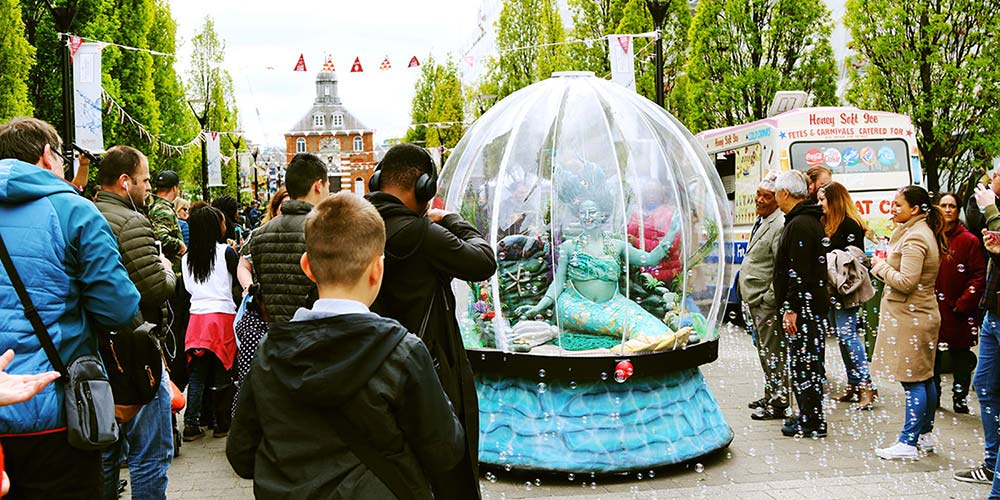 Sea Sphere mermaid street theatre entertainment