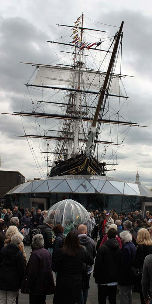 Sea Sphere performing at the Cutty Sark for Tall Ships Regatta