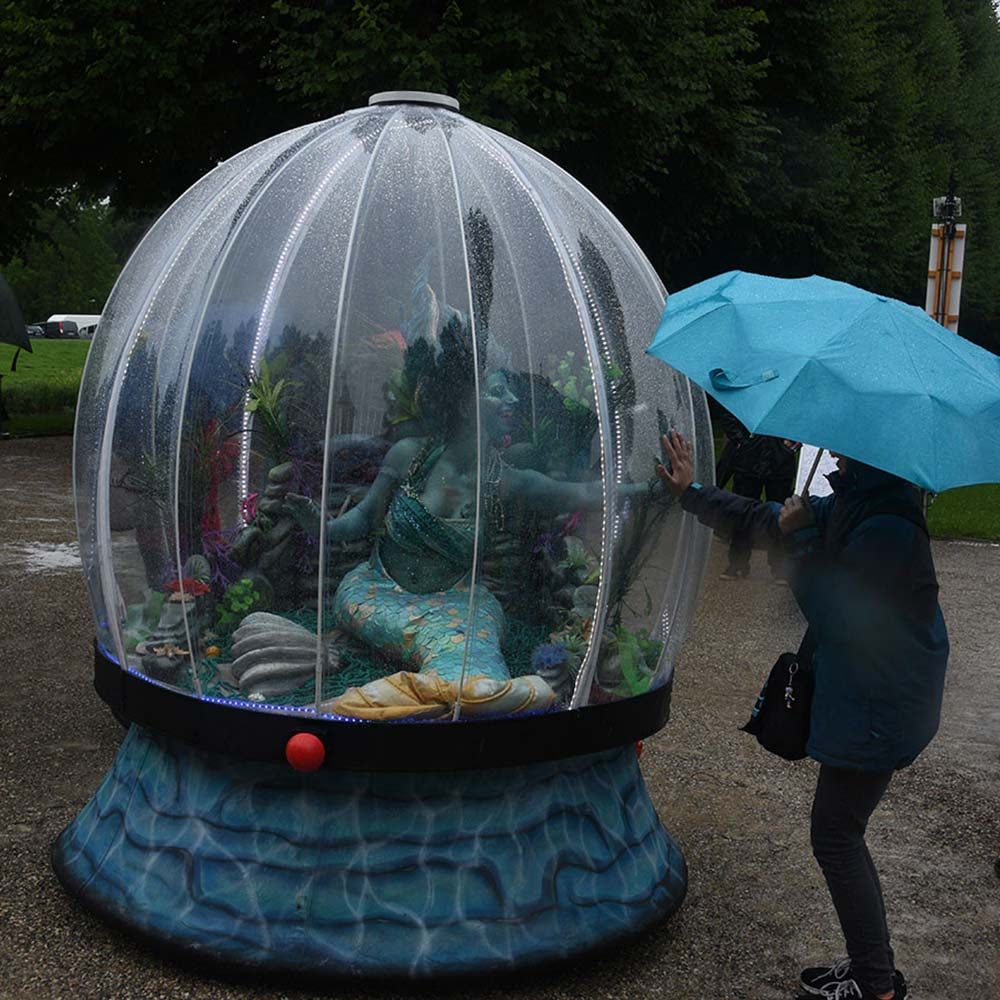 Sea Sphere waterproof entertainment! A Dry mermaid act in the rain