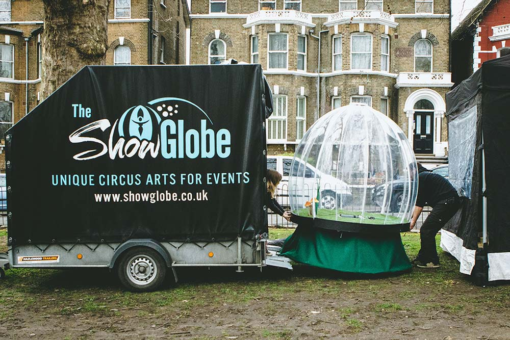 Show Globe Logistics: Moving the Globe from the trailer to the gazebo on arrival