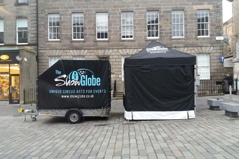 Show Globe Logistics: The Show Globe trailer and gazebo set-up