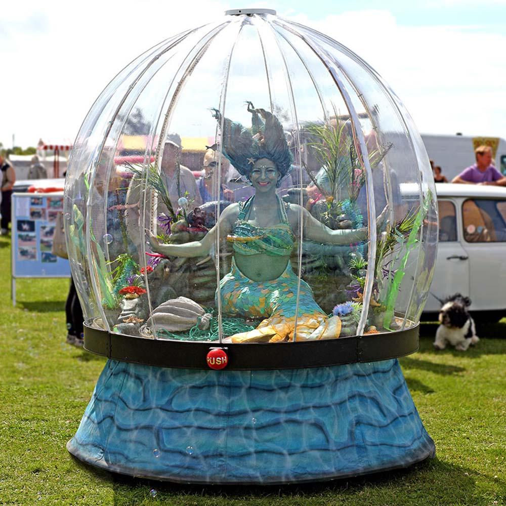 Sunshine and mermaids with our Sea Sphere, festival entertainment