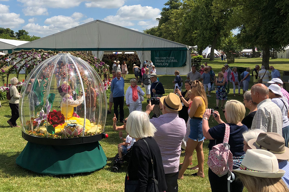 Enchanted Flower Globe entertaining at Blenheim Flower Show