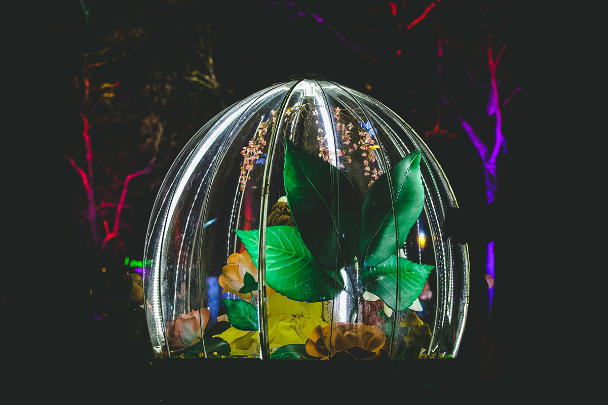 Enchanted Flower Globe is an illuminated interactive attraction for festivals