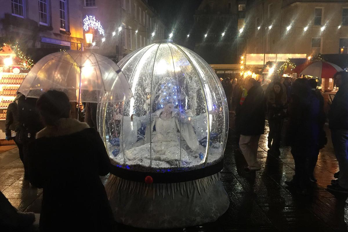 Illuminated Snow Globe act at Bath Christmas Market