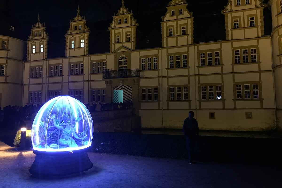 Illuminated walk about act, Sea Sphere performing in Paderborn, Germany