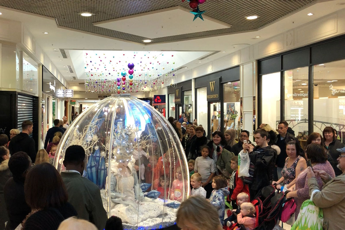 Shopping centre Christmas entertainment, Living Snow Globe in Telford